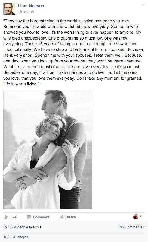 Liam Neeson makes touching tribute to his late wife, Natasha Richardson