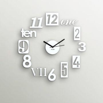 Klok Stylized Numbers White Wall Clock