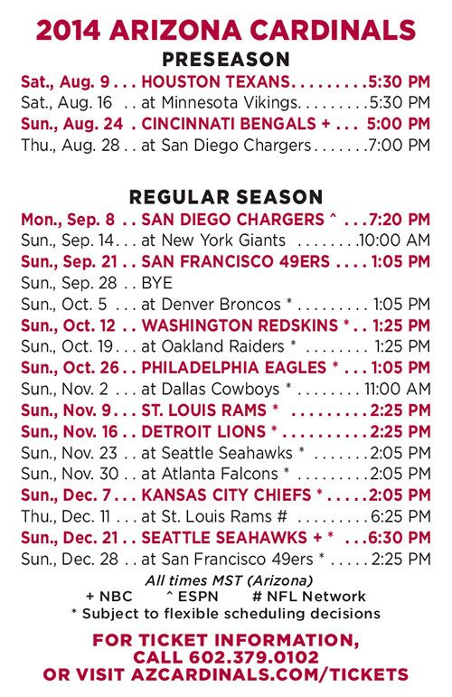 Arizona Cardinals Release 2014 Schedule