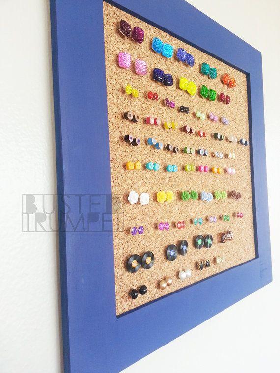Periwinkle Blue Earring Storage - Custom Corkboard Earring Holder - Cork board - cool way to store studs