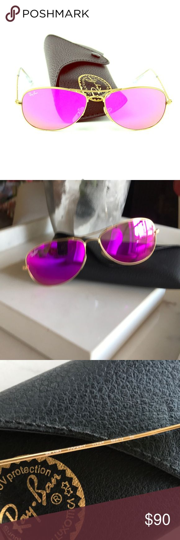 Ray Ban Cockpit Polarized Aviators Ray Ban 3362 Cockpit Polarized Aviator Sunglasses. 112/4t. -  BEAUTIFUL hot pink sunglasses with gold frames and never wore. Not even once. Too small for my face. They are in perfect condition with the case.  *know your RBs these are the smaller frame aviator. No scratches. Mint. Ray-Ban Accessories Sunglasses