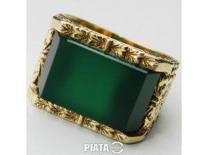 Vestimentatie, Bijuterii, accesorii, inel antic aur 14k piatra superba jade unisex, imaginea 1 din 2