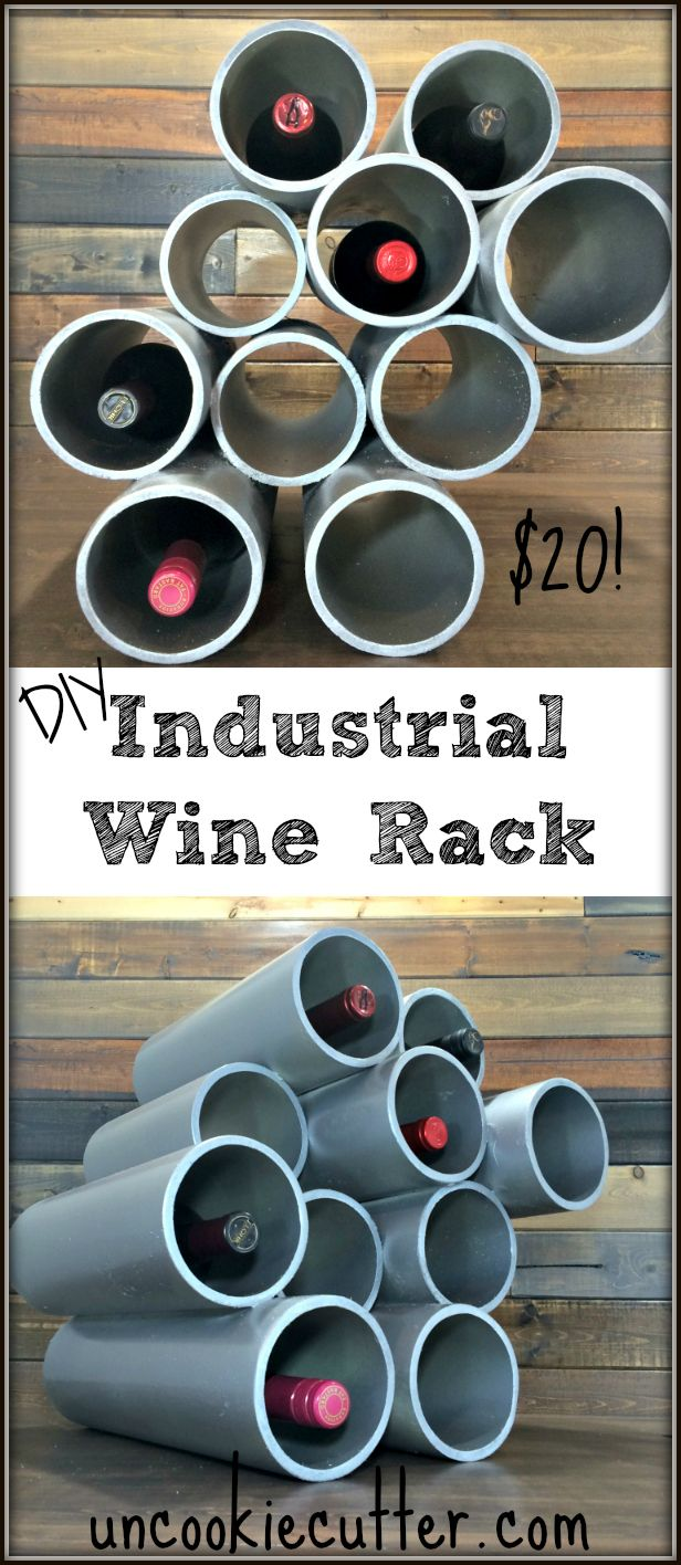 An Easy and Cheap DIY Industrial Wine Rack -- UncookieCutter.com