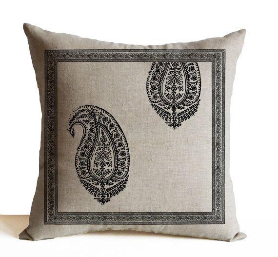 Items Similar To Decorative Throw Pillows Sofa Ivory Cotton Grey Paisley  Pillow Cases Asian Decor Wedding Anniversary Engagement Housewarming  Present On ...