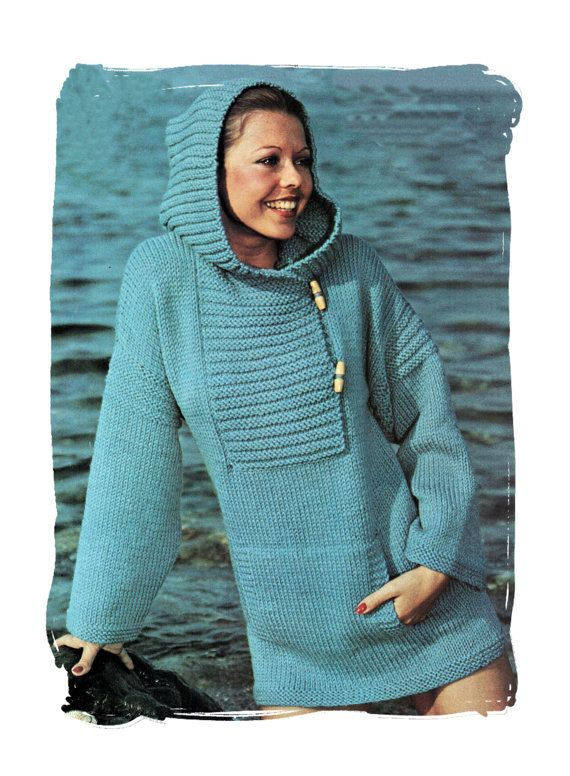 Instant Download PDF : KNITTING PATTERN to make a Cowl Hood Anorak Jacket  Over Sweater Toggle Fastening in 3 Sizes