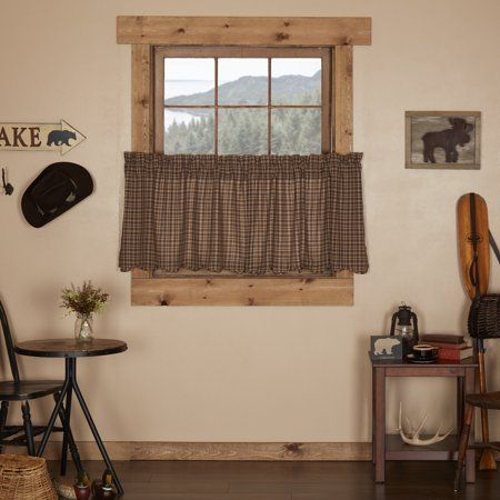 dark brown rustic & lodge kitchen curtains prescott rod pocket cotton plaid 24x36 tier pair