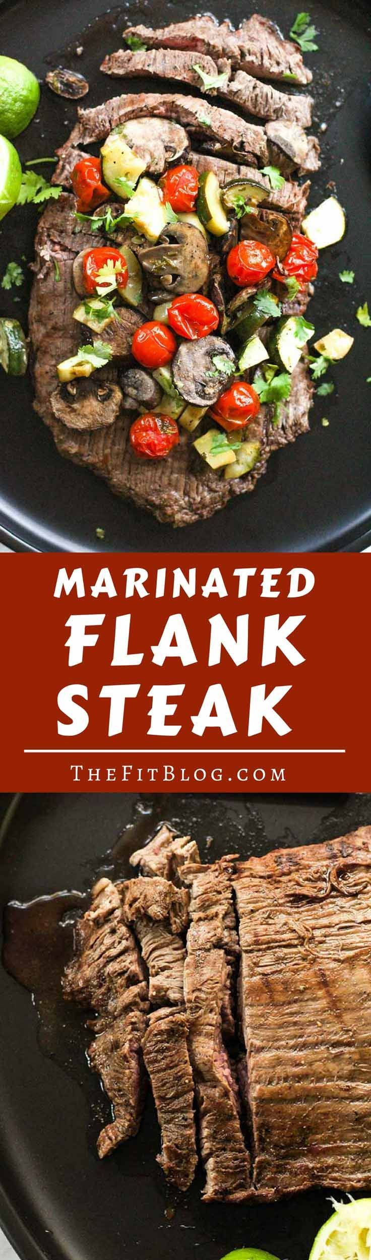 This Marinated Flank Steak with Roasted Mushrooms, Tomatoes, and Zucchini is perfect for any time of the year. Super juicy and flavorful! (high protein, low carb, sugar free, gluten free, diabetes friendly, Paleo, Whole 30) via @TheFitBlog