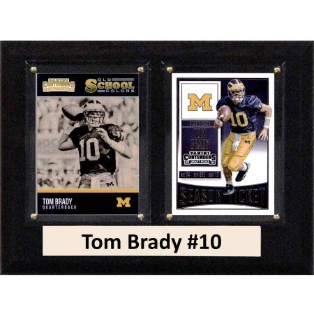C & I Collectables Ncaa 6 inch x 8 inch Tom Brady Michigan Wolverines 2 Card Plaque