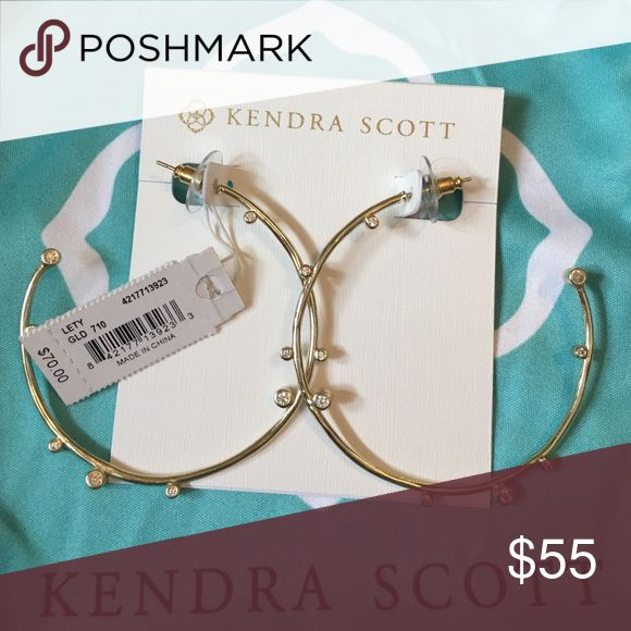 Kendra Scott Brand New Lety Hoop Earrings New with tags Kendra Scott Lety Hoop Gold Earrings! Includes pouch and gift box! Kendra Scott Jewelry Earrings