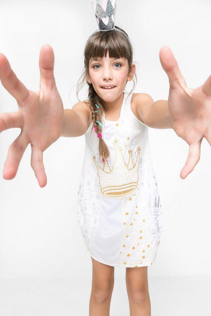 Vestido blanco con falda globo para niña | Desigual.com C