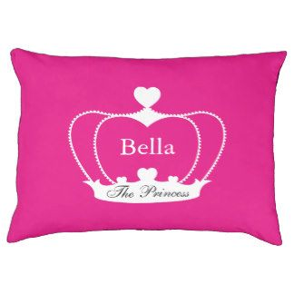 Personalized Dog Bed Crown with Hearts - Hot Pink