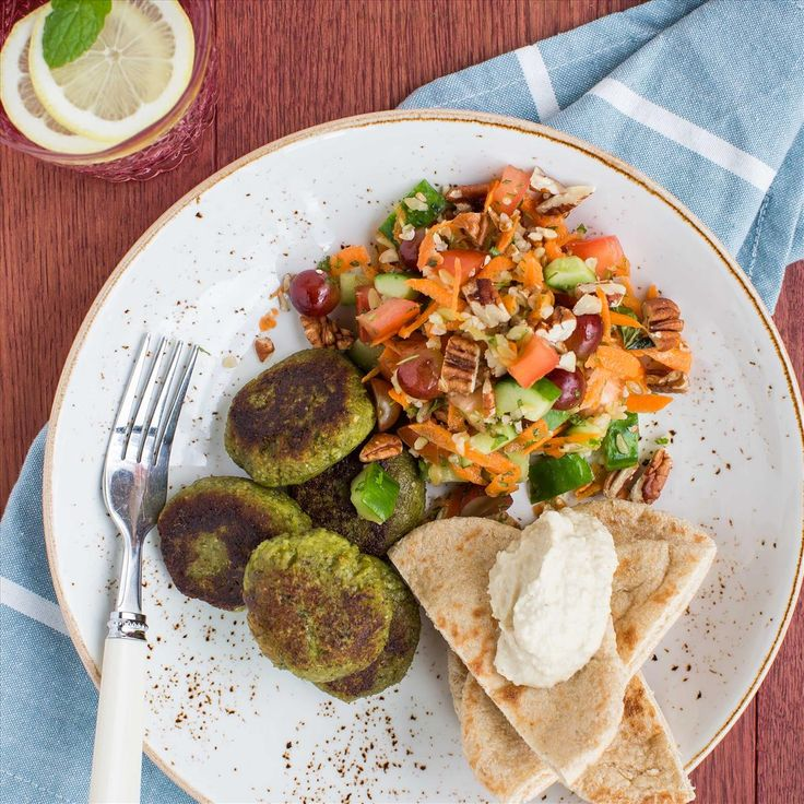 Falafel with Freekeh Tabbouleh, Hummus and Pita Bread
