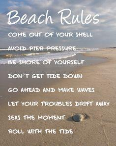 New Beach Rules, Beach Quotes, Coastal Wall Art, Beach Photography Quote Wall Art, Beach Art Wall Quotes, Coastal Decor, Seaside, Blue Beach Art 7