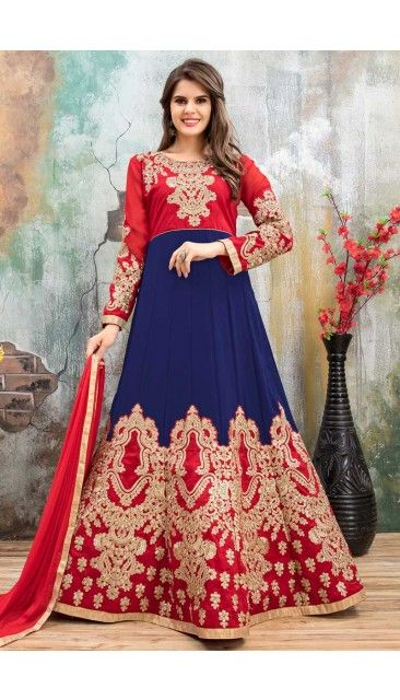 Blue And Red Faux Georgette Anarkali Churidar Suit With Dupatta - DMV14794