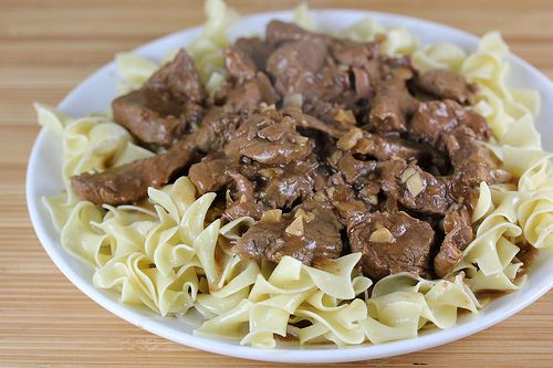 Beef tips and egg noodles with gravy