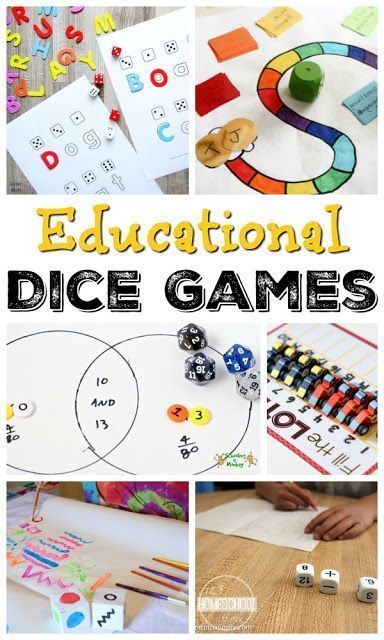 Educational Dice Games for kids - these are perfect for celebrating National Dice Day on December 4th. Lots of fun, clever math games for kids, spelling games, and more fro kids form preschool, kindergarten, first grade, 2nd grade, 3rd grade, 4th grade, 5th grade and more.