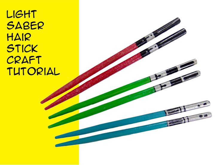 Use the Force (and some paint) to make your own lightsaber chopsticks. Hair sticks inspired by Star Wars. DIY Tutorial with Step-by-Step instruction video.