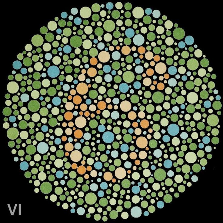 Test para diagnosticar el daltonismo (ceguera a ciertos colores) inventado por Shinobu Ishihara en 1917