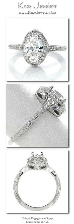 Antique inspiration and elegance are intertwined in this haloed 1.00 carat oval cut engagement ring. Micro pavé, graceful scroll engraving and milgrain detail adorn the band for a vintage appeal. The basket features a tapestry of arched diamonds and two marquise surprise diamonds.  Click on pin to see our collection.