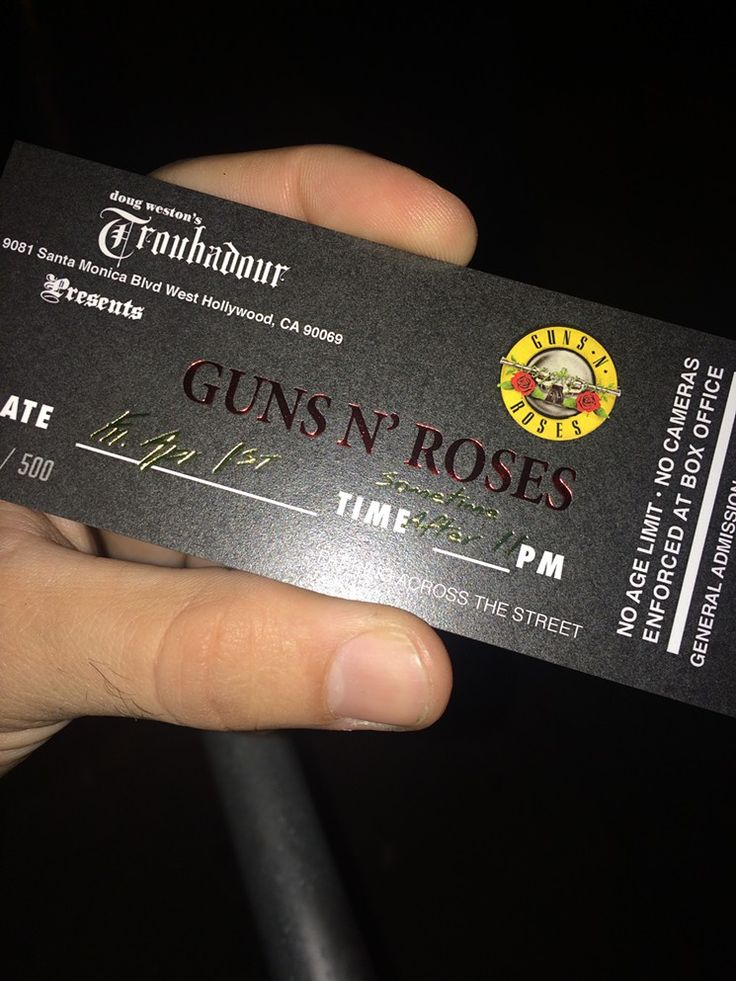 Here's What It Felt Like Seeing Guns N' Roses at the Troubadour A shot of the commemorative ticket fans were given with their wristband.