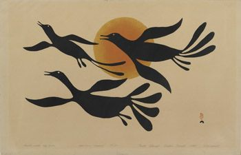 Birds Over the Sun, a stencil by Kenojuak Ashevak. Rare print dating from 1960—the dawn of Inuit printmaking