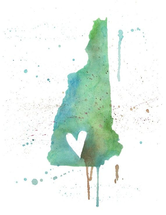 """""""New Hampshire Love"""" by poppyandpinecone on Etsy. This artist does this same painting style with other states as well!"""