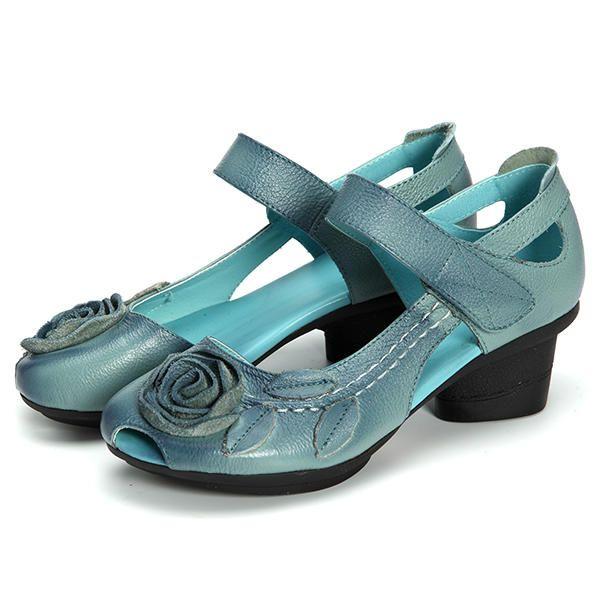 SOCOFY Genuine Leather Floral Leaf Decoration Block Hook Loop Vintage Shoes - US$36.79