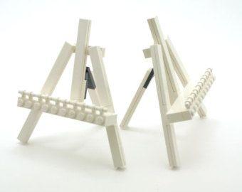 For deniheidi - Set of Two White LEGO Mini Display Easels with Dark Grey Hinges