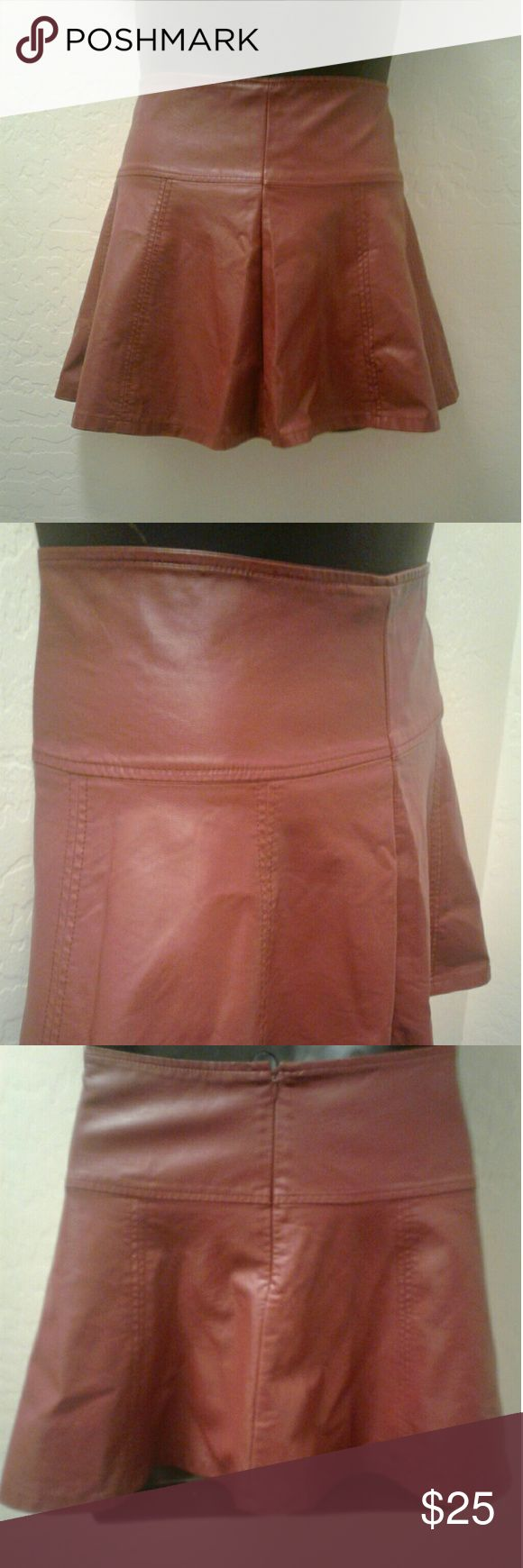 Sexy Toffee Leather Skater Skirt Cute short leather flare skirt. Unique toffee brown color w/ soft butter leather feel. Stitched seams and pleats. Lining: rayon. Shell: Polyurethane. NWOT. Forever 21 Exclusive Skirts Circle & Skater