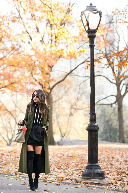 Autumn in Central Park :: Green coat & High boots :: Outfit ::  Top :: Veronica Beard coat, Forever 21 top Bottom :: Pierre Balmain Shoes :: Stuart Weitzman Bag :: Celine Accessories :: Karen Walker sunglasses, Tiffany & Co rings Published: November 30, 2016