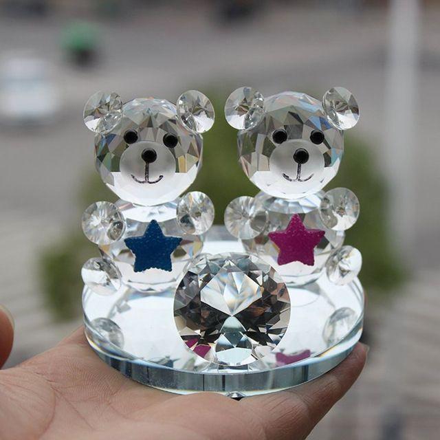 Clear Rare Kristal Glas Decoratieve Animal Teddybeer Beeldjes paperweights Handgemaakte Creative Office Home Bedankje Decor
