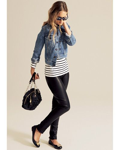 Black leather leggings, black and white striped shirt, jean jacket, shades, black purse