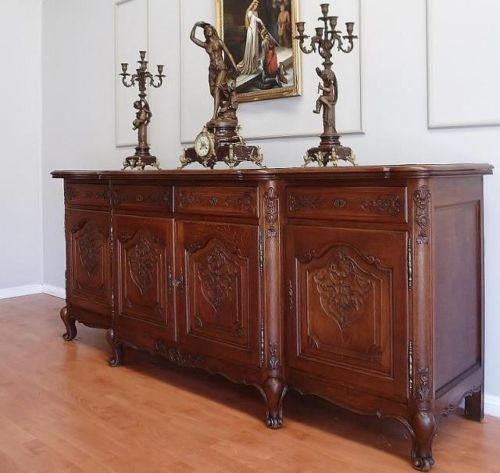 Antique-French-Louis-XV-Sideboard-Cabinet-in-Solid-Oak-c-1920-Stunning