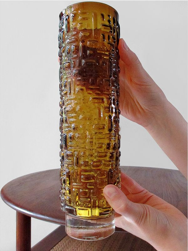 Mid Century Modern Scandinavian Amber Glass Vase C 1960 Sold Amber Glass Glassware Glass Vase