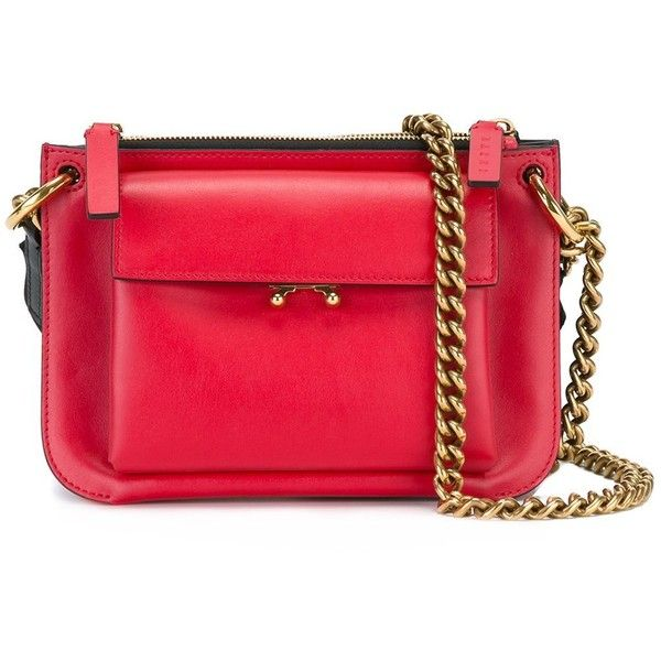Marni \'Pocket\' Shoulder Bag (107,765 INR) ❤ liked on Polyvore featuring bags, handbags, shoulder bags, red shoulder handbags, marni shoulder bag, chain strap handbags, chain shoulder bag and chain strap purse