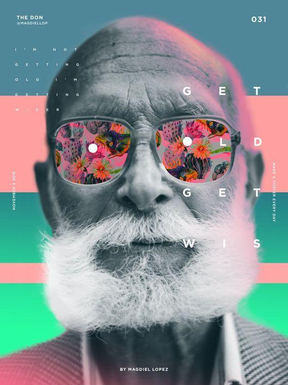 Utilisation de la couleur, mélange avec un portrait. Décalage des styles entre le personnage et les éléments colorés. Composition minimaliste des typographies. Visuellement attrayant