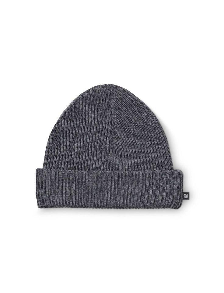 Alfo hat-Men's short beanie in 100% Baruffa soft wool yarn. Features all-round rib knit. Tiger head flag label at side.