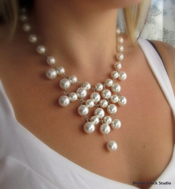 WHITNEY-White Glass Pearl Bib Style Necklace 46 shiny, smooth white glass pearls that I have linked together with sterling silver head pins into this funky design. The necklace measures approx 16 inches with a 1 inch extender chain and closed with a lobster clasp for added security $75