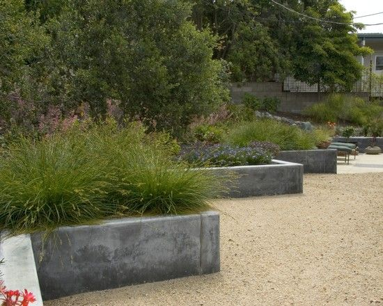 Rustic Modern Design, Pictures, Remodel, Decor and Ideas - page 21: Contemporary Landscape, Landscape Architecture, Modern Exterior, Raised Beds, Modern Gardens Design, Concrete Retaining Wall, Planters Boxes, Concrete Planters, Wall Design