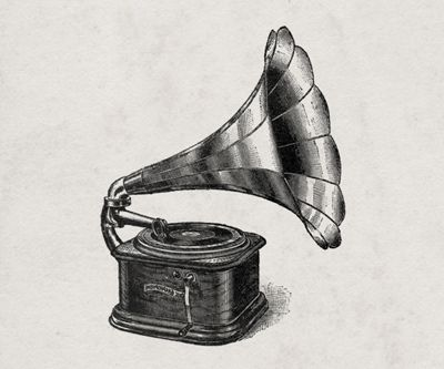 Gramophone Tattoo Idea - This with notes and sound waves of my kids' names