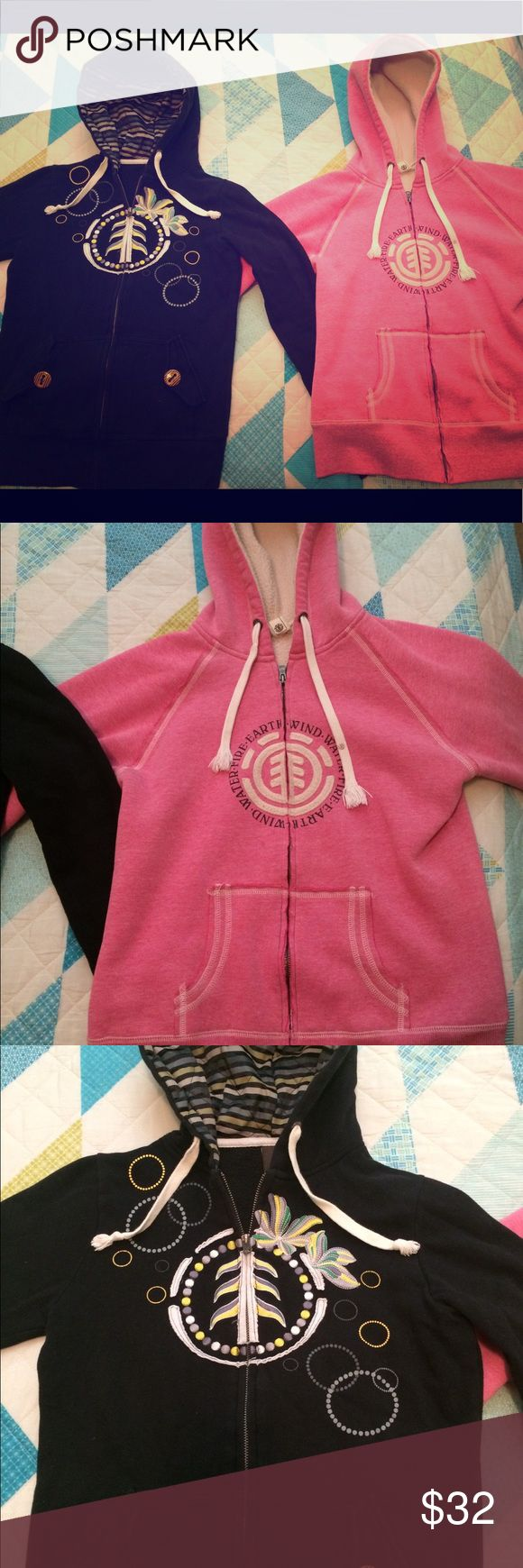 Element Hoodie Bundle 💘 Two women's Element hoodies. Both are like new. Bought off posh and never wore. The black one is a medium and the pink is a large. The pink hoodie is fleece lined and runs a bit small, fits like a medium. I am up for trades too!! Tops Sweatshirts & Hoodies