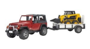 Bruder Jeep Wrangler with Tow Trailer and 02435 Skid Steer Loader The details in this Bruder 3-piece set are very impressive. The suspension actually works and the trailer has a storage box. http://bit.ly/1ECAVOd