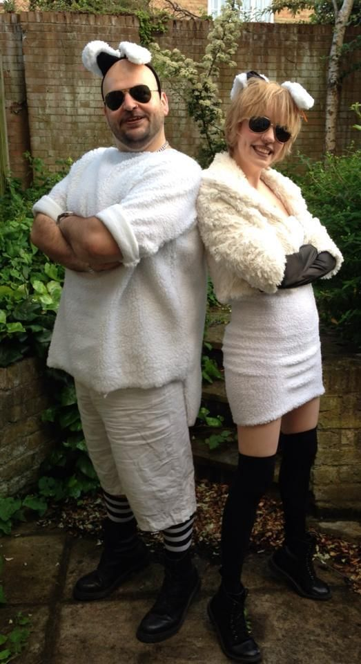"""""""FANCY DRESS makes me #feelalive - My housemate Chris & I as Dolly the sheep at 90s party."""""""