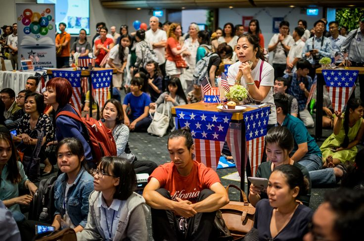 Ho Chi Minh City, Vietnam  People watch live election results hosted by the US consulate general at a convention centre