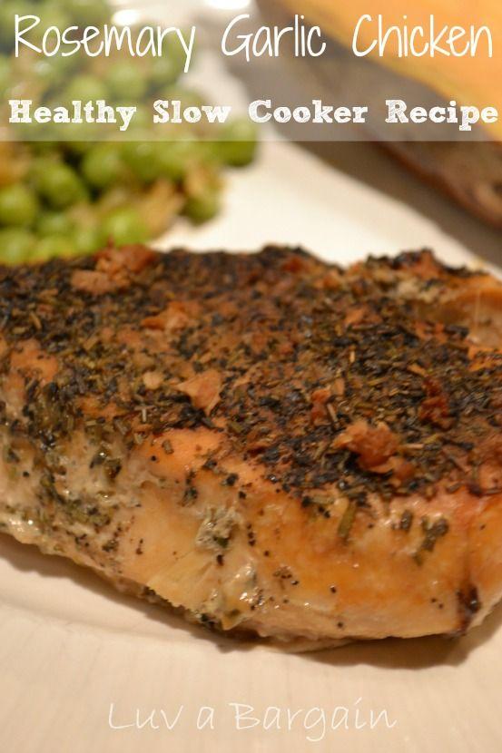 Healthy Slow Cooker Rosemary Garlic Chicken - Easy clean eating dinner.  LuvaBargain.com