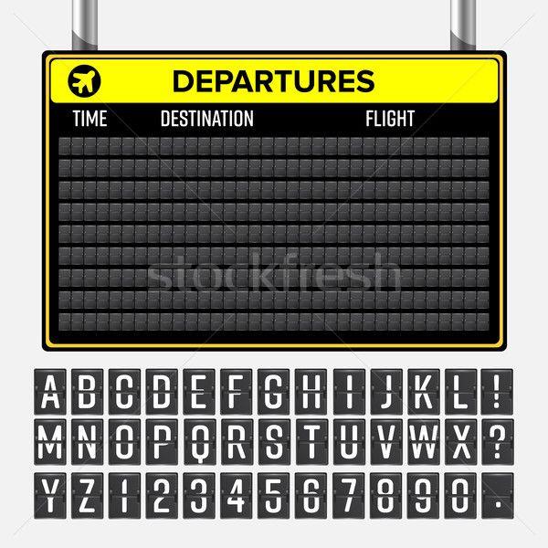 Airport Board Vector Realistic Flip Scoreboard Airport Template