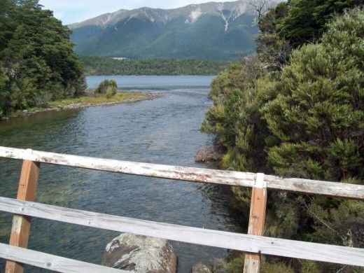 Mouth of The Buller River which flows out of Lake Rotoiti from West Bay.