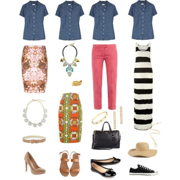 One key wardrobe piece styled 4 ways: Short Sleeve Denim Shirt