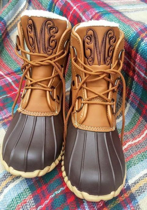 """Did some one say """"duck boots with a monogram?!"""" Umm, yes please!! These have been a hot item and selling fast!"""