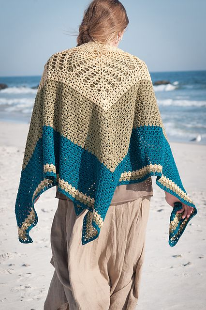 """Crocheted in the """"square"""" from the center out, this design works equally well as a great oversized wrap or beach blanket"""